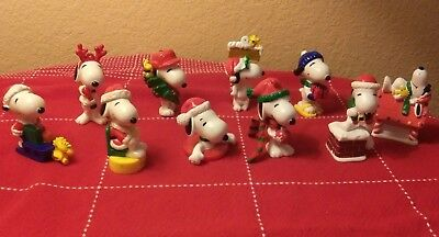 PVC SNOOPY & Woodstock  Ornaments Lot of 10 Christmas Themes  Tree Santa Sled
