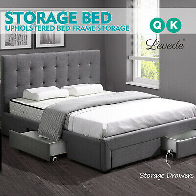 Contemporary Design Fabric Upholstered Bed Frame Furniture with Storage Drawers