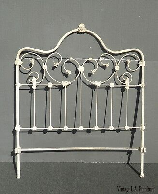 Vintage French Country Shabby Chic Off White Full Headboard w Cast Iron