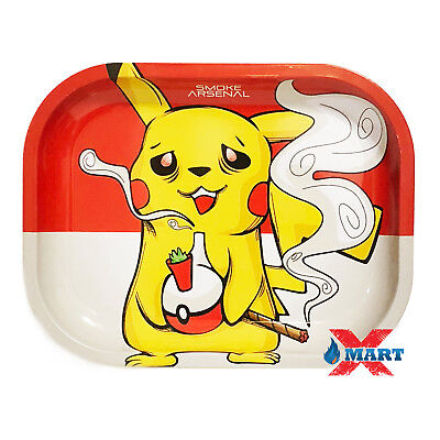Smoke Arsenal GOTTA SMOKE EM ALL Pikachu Tobacco Metal Small Rolling Tray 7x5