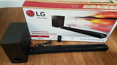 LG SH2 100W sound bar, subwoofer, remote control, bluetooth tv sound system