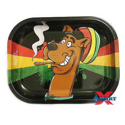 Smoke Arsenal SNOOPY DOO RASTA DOGGY Tobacco Metal Small Rolling Tray 7x5