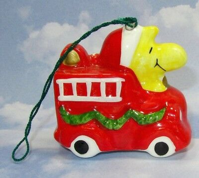 Woodstock Fireman On Fire Engine Vintage Christmas Tree Ornament