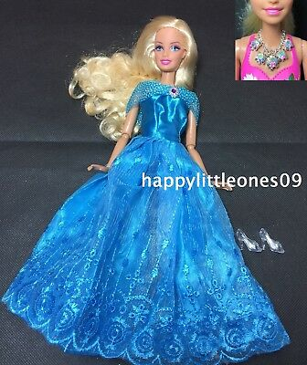 New Barbie Doll Dress Inspired By Disney Cinderella &Shoes &Necklace 3 Piece Set