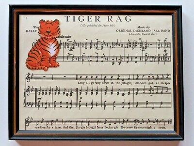 Vintage 1917 Framed Original Sheet Music Tiger Rag Dixieland Band Wall Art Decor