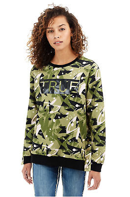 True Religion Women's Camo Pullover Crew Neck Sweatshirt in Camo