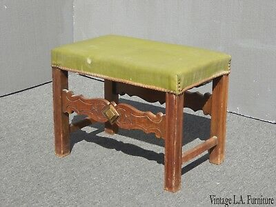 Vintage French Country Green Vinyl Bench with Decorative Nails Farmhouse Chic