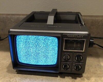 """Vintage Bentley Deluxe Portable 5"""" Black & White TV Television B&W Model 1000A"""