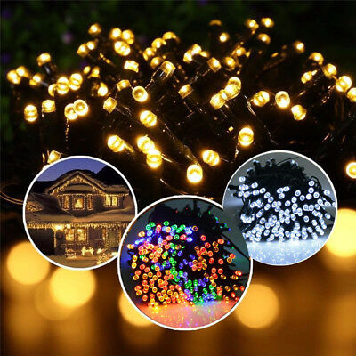 UK 50 LED Solar Power Fairy Lights String Garden Outdoor Party Wedding Xmas Lamp