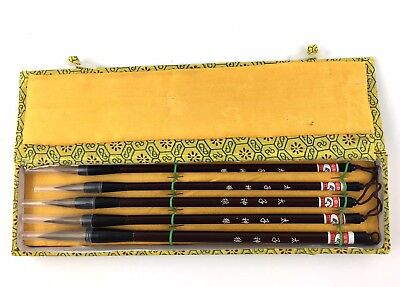 Calligraphy Brushes Set of 5 Chinese Art Tool with Carrying Case