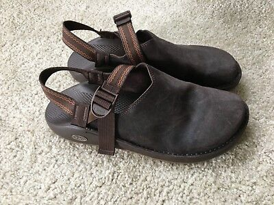 Men's Chaco Chocolate Brown Size 15 Leather Slides in EUC
