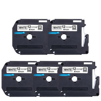5 PK MK-231 Label Tape Black on white 12mm PT90 Compatible for Brother P-touch