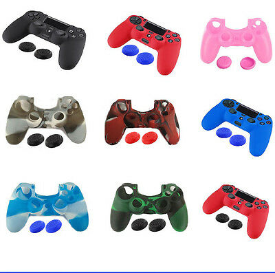 US Protective Case PlayStation 4 PS4 Controller +Silicone Thumb Stick Grip Cap