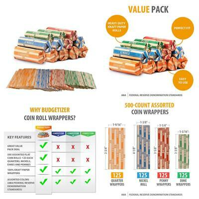 Coin Roll Wrappers 500-Count Assorted Flat Papers 500 Pack, Multicolored