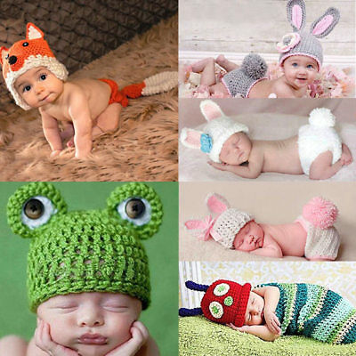 Newborn Baby Girl Boy Crochet Knit Costume Photo Photography Prop+Hats Outfits
