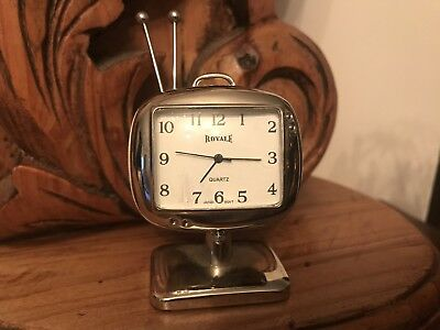 Minature Clock Old Tv Working Collectible