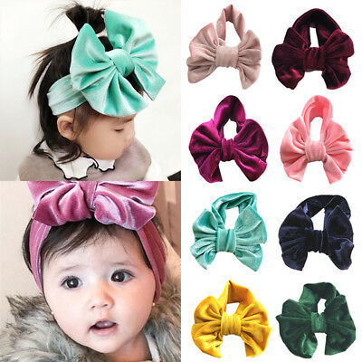 Elastic Baby Kids Toddler Girls Bow Hairband Turban Headband Velvet Head Wrap