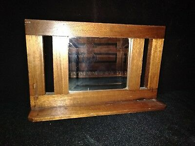 Vintage-OAK WOOD BEVELED MIRROR SHELF-Arts&Crafts-Mission style-Rustic-Primitive