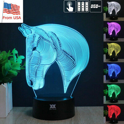 Animal World Horse Head 3D LED Night Light 7 Color Desk Lamp Touch Battery Gifts