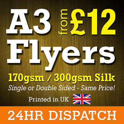 A3 Flyers Leaflets Printed Full Colour 170gsm 300gsm Silk - A3 Flyer Printing