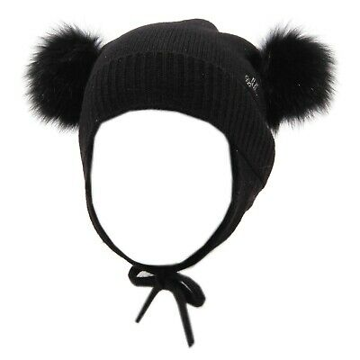 6062V cuffia bimba MONNALISA wool synthetic black hat girl kid b98ca0390497