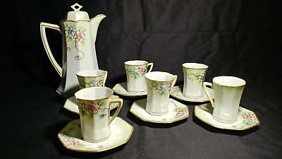 Antique Hand Painted Floral Nippon Tea Chocolate Pot Set 6 Cups And Saucers