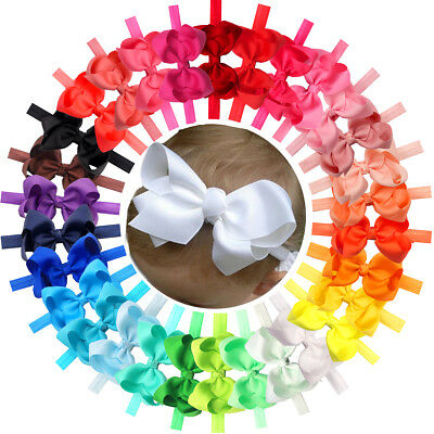 "30Pc Lot Baby Girls 4.5"" Hair Bows Headbands for Infant Toddlers Newborn Big Bow"