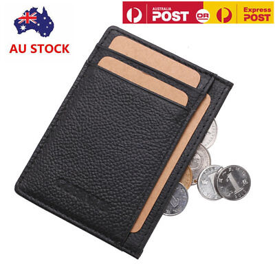 Mens Women Minimalist Slim Genuine Leather Wallet Pocket Card Holder Purse