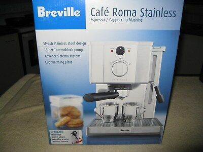 Breville Cafe Crema Stainless 15 Bar Espresso Cappuccino Coffee Machine Brnd New