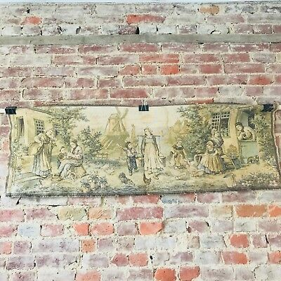 "Wall Hanging Tapestry Rug Retro Vintage Peasant Village Scene French 19"" x 54"""