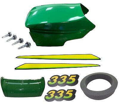 New Upper & Lower Hood/Bumper/Foam Isolator/LH&RH Stickers Fits John Deere 335
