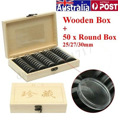50 Round Box Capsules Wooden Coins Display Storage Container Collection Case