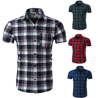 Men's Shirts Check Work Polyester Everyday Summer Short Sleeve Casual Tops
