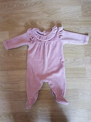 Next Baby Girls Velour Pink Ruffle Romper Sleepsuit Up To 1 Month