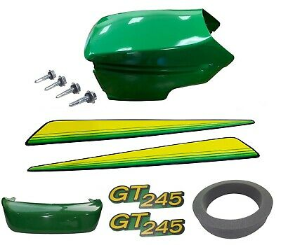 New Upper & Lower Hood/Bumper/Foam Isolator/LH&RH Stickers Fits John Deere GT245