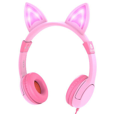 Pink LED Cat Ear Kids Headphone Wired Headset Stereo Music Earphone Gift Xmas
