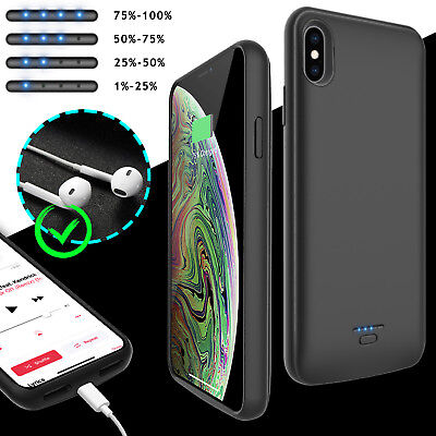 For iPhone XS Max XR Case Battery Wireless Charger External Power Bank Charging