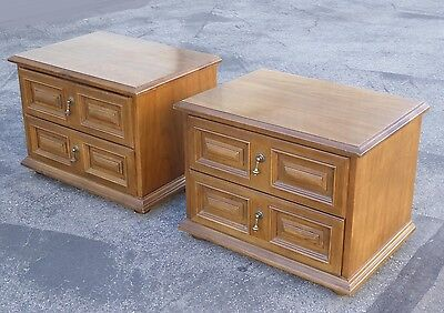 Pair DREXEL Mid-Century Modern Two Drawer Solid Wood NIGHTSTANDS w Brass Handles