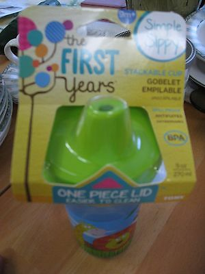 The First Simple Sippy 9 Oz. Cup LION~GIRAFFE ~ MONKEY Green Lid Stackable 9M+