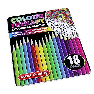 18Pc Quality Adult Colouring Book Pencils In Case Art Therapy Set INTENSE COLOUR