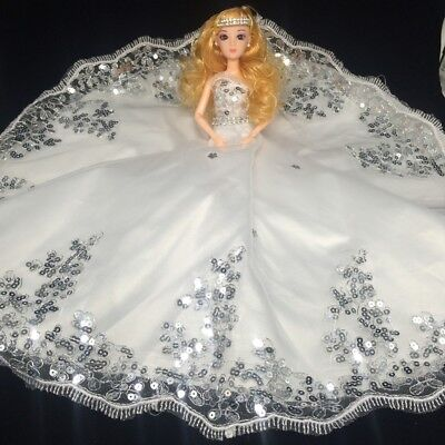 USA Amazing Wedding Dress for Doll Princess Evening Party Clothes Wears