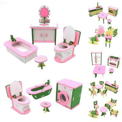 Wooden Furniture Room Set Doll House Family Miniature Kids Children Play Toy Kid