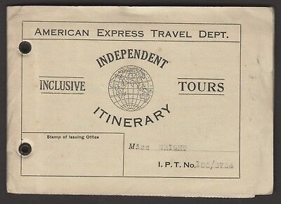 American Express Travel Dept. 1929 Itinerary tour document for Europe +++