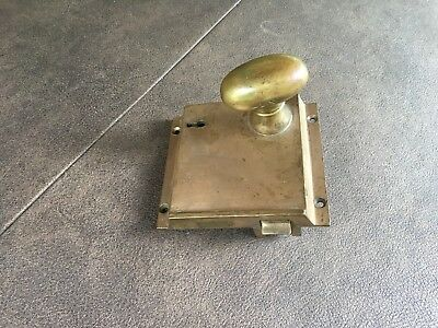 Vintage Brass Antique Door Face Plate Lock with Brass Door Knob Victorian