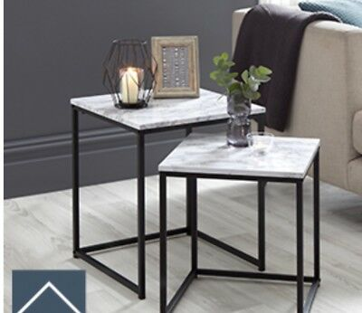 New in Box Marble Effect Nest of 2 Tables. Modern Contemprary Designer Look
