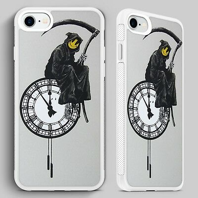 Enhanced Clock Background Wall Stickers Banksy Large Grim Reaper On The Clock
