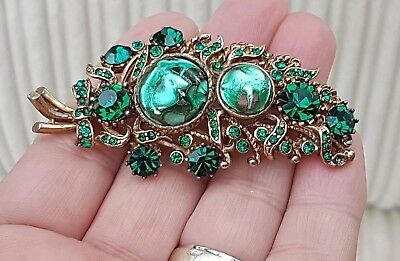 Stunning Vintage Art Deco Jewellery Foil Backed Murano Crystal Gold Brooch Pin