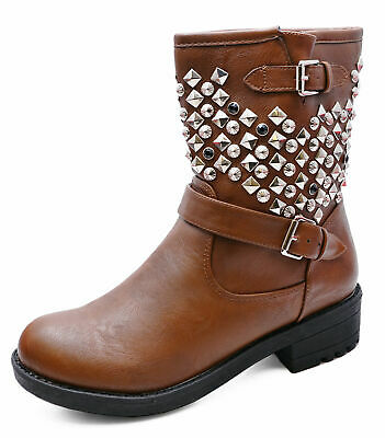 Ladies Flat Brown Zip-Up Military Rock-Chick Biker Ankle Calf Boots Shoes Uk 3-8