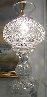 Vintage Crystal Cut Glass Table Lamp Waterford Style                         Ol