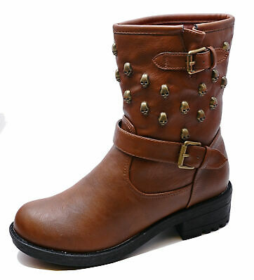 Womens Flat Brown Zip Skull Military Rock-Chick Biker Ankle Calf Boots Shoes 3-8